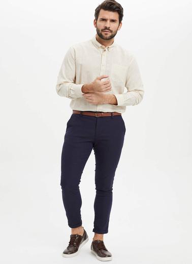 DeFacto Modern Fit Keten Gömlek Bej